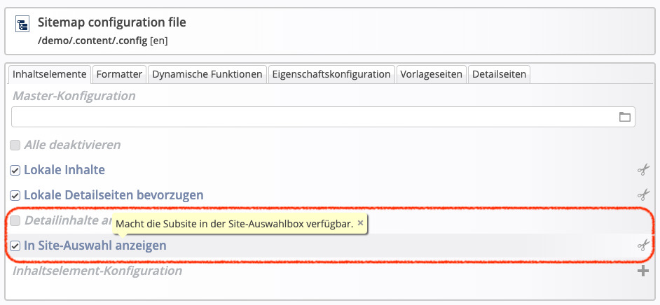 SubSitemapAnzeigenSitemapConfig
